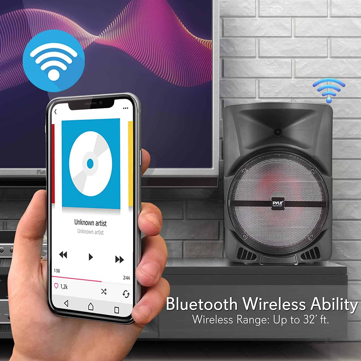 Best wireless Bluetooth portable PA: Pyle PPHP1244B