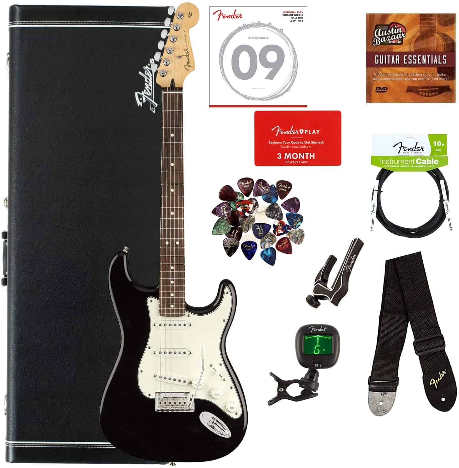 Overall best blues guitar- Fender Stratocaster complete with hardshell case and other accessories