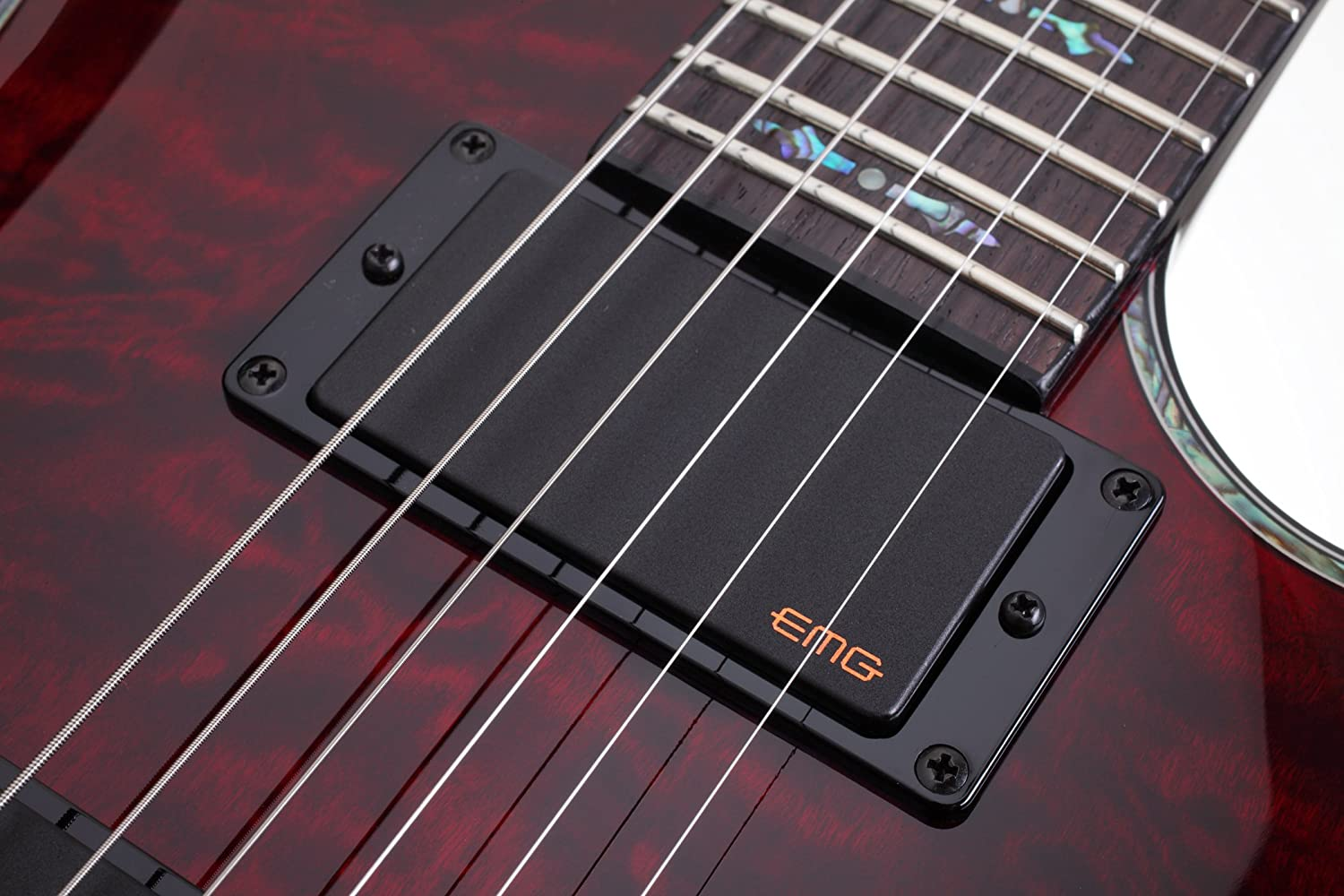 Schecter Hellraiser C has a rosewood fretboard and EMG pickups
